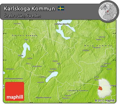 Free Physical Map Of Karlskoga Kommun - Karlskoga sweden map