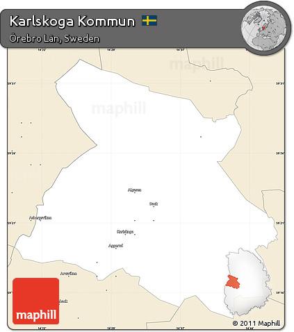 Free Classic Style Simple Map Of Karlskoga Kommun - Karlskoga sweden map