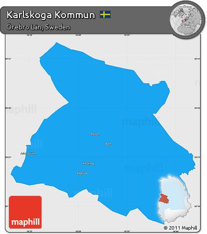 Free Political Simple Map Of Karlskoga Kommun Single Color Outside - Karlskoga sweden map