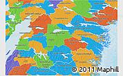 Political 3D Map of Östergötlands Län