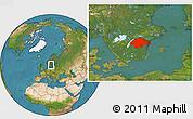 Satellite Location Map of Östergötlands Län