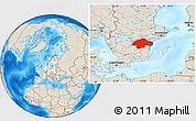 Shaded Relief Location Map of Östergötlands Län