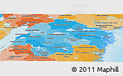 Political Shades Panoramic Map of Östergötlands Län