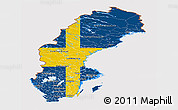 Flag Panoramic Map of Sweden