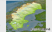Physical Panoramic Map of Sweden, darken
