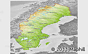 Physical Panoramic Map of Sweden, desaturated