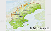 Physical Panoramic Map of Sweden, lighten