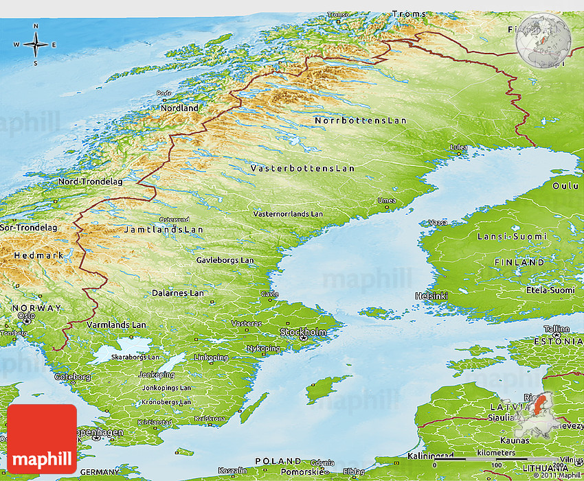 Physical Panoramic Map Of Sweden - Sweden elevation map