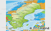 Physical Panoramic Map of Sweden, political outside, shaded relief sea