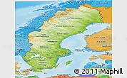 Physical Panoramic Map of Sweden, political shades outside, shaded relief sea
