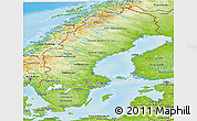 Physical Panoramic Map of Sweden