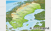 Physical Panoramic Map of Sweden, satellite outside, shaded relief sea