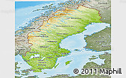 Physical Panoramic Map of Sweden, semi-desaturated, land only