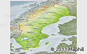 Physical Panoramic Map of Sweden, semi-desaturated