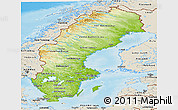 Physical Panoramic Map of Sweden, shaded relief outside