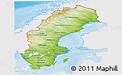 Physical Panoramic Map of Sweden, single color outside