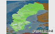 Political Shades Panoramic Map of Sweden, darken
