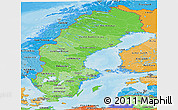 Political Shades Panoramic Map of Sweden