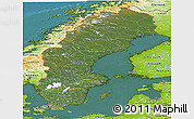 Satellite Panoramic Map of Sweden, physical outside, satellite sea