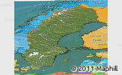 Satellite Panoramic Map of Sweden, political shades outside, satellite sea