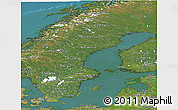 Satellite Panoramic Map of Sweden