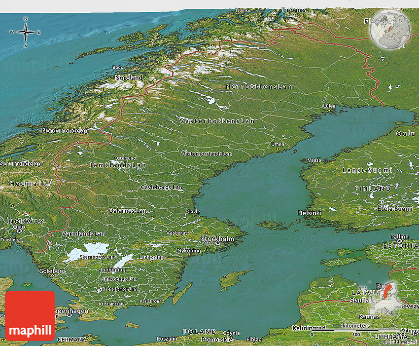 Satellite Panoramic Map Of Sweden - Sweden map satellite