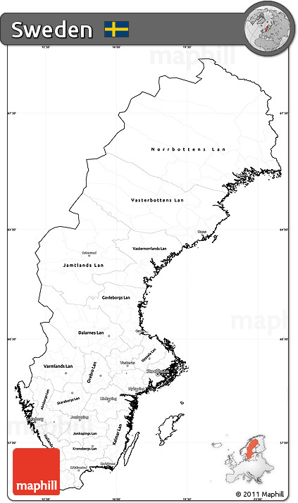 Free Blank Simple Map Of Sweden Cropped Outside - Sweden map blank