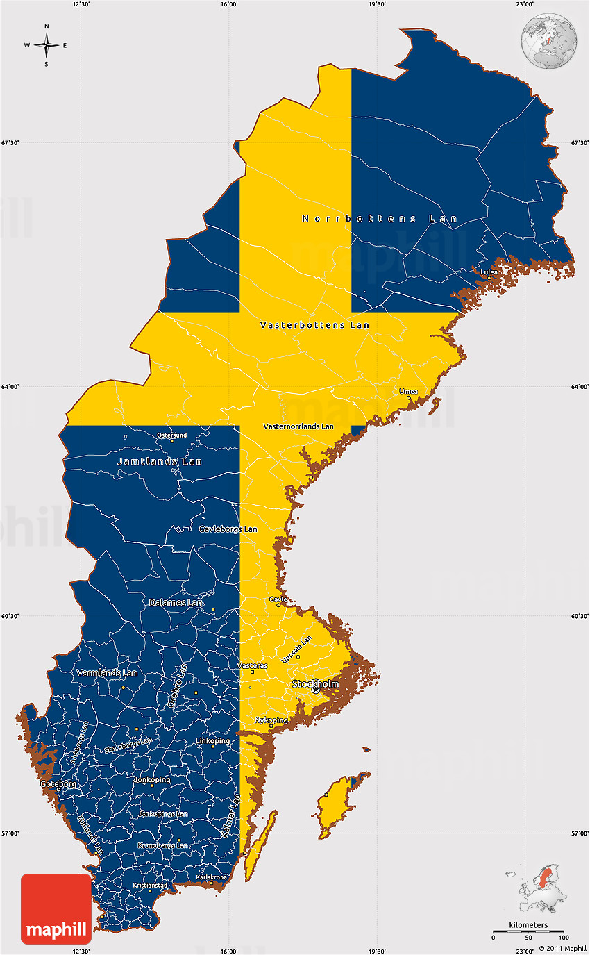 Flag Simple Map Of Sweden Flag Rotated - Sweden map flag