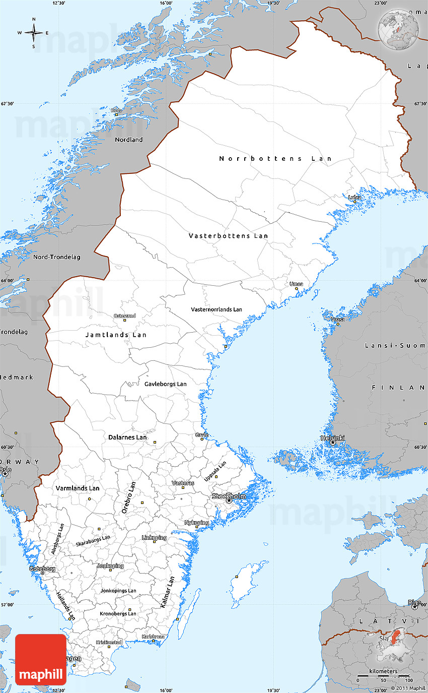Gray Simple Map Of Sweden - Sweden map blank