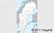Gray Simple Map of Sweden