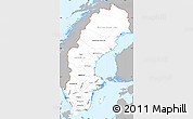 Gray Simple Map of Sweden, single color outside