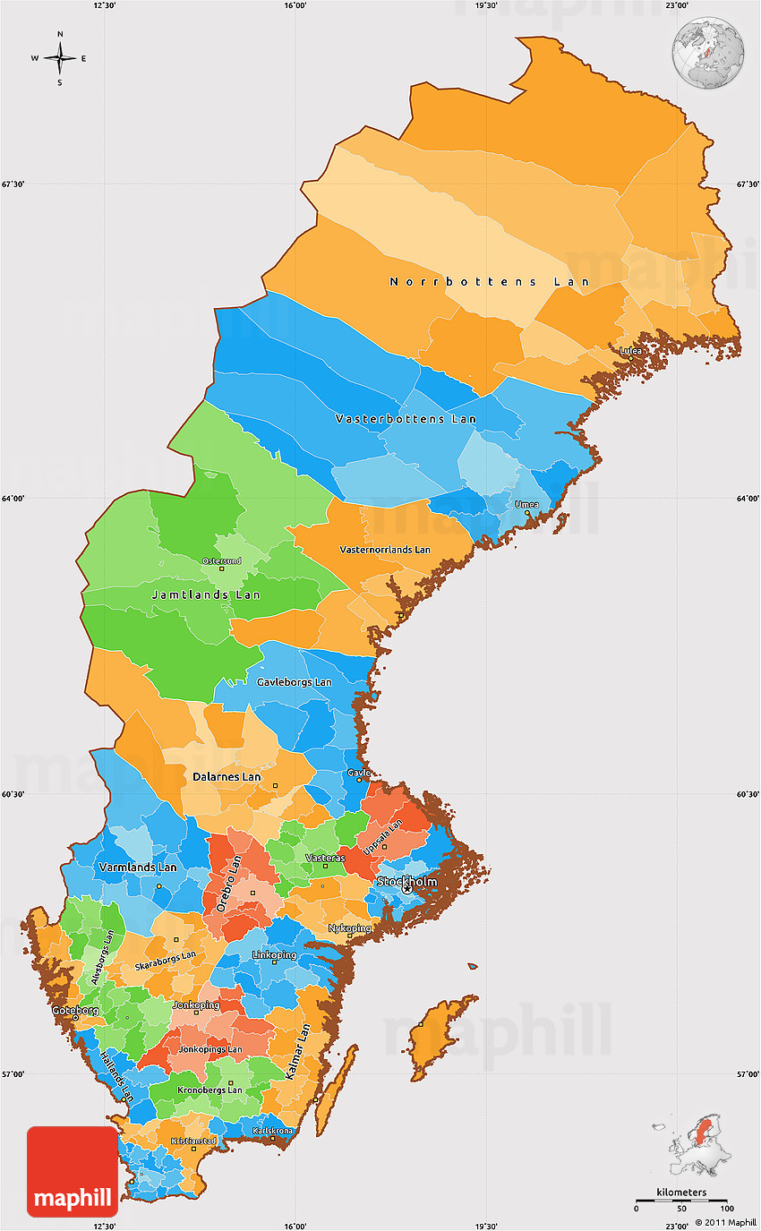 Political Simple Map Of Sweden Cropped Outside - Map of sweden