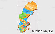 Political Simple Map of Sweden, cropped outside