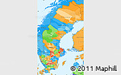 Political Simple Map of Sweden, political shades outside
