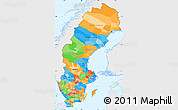 Political Simple Map of Sweden, single color outside