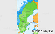 Political Shades Simple Map of Sweden