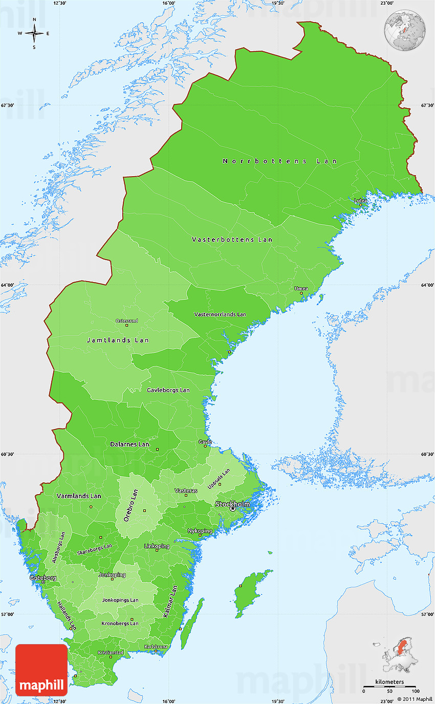 Political Shades Simple Map of Sweden single color outside