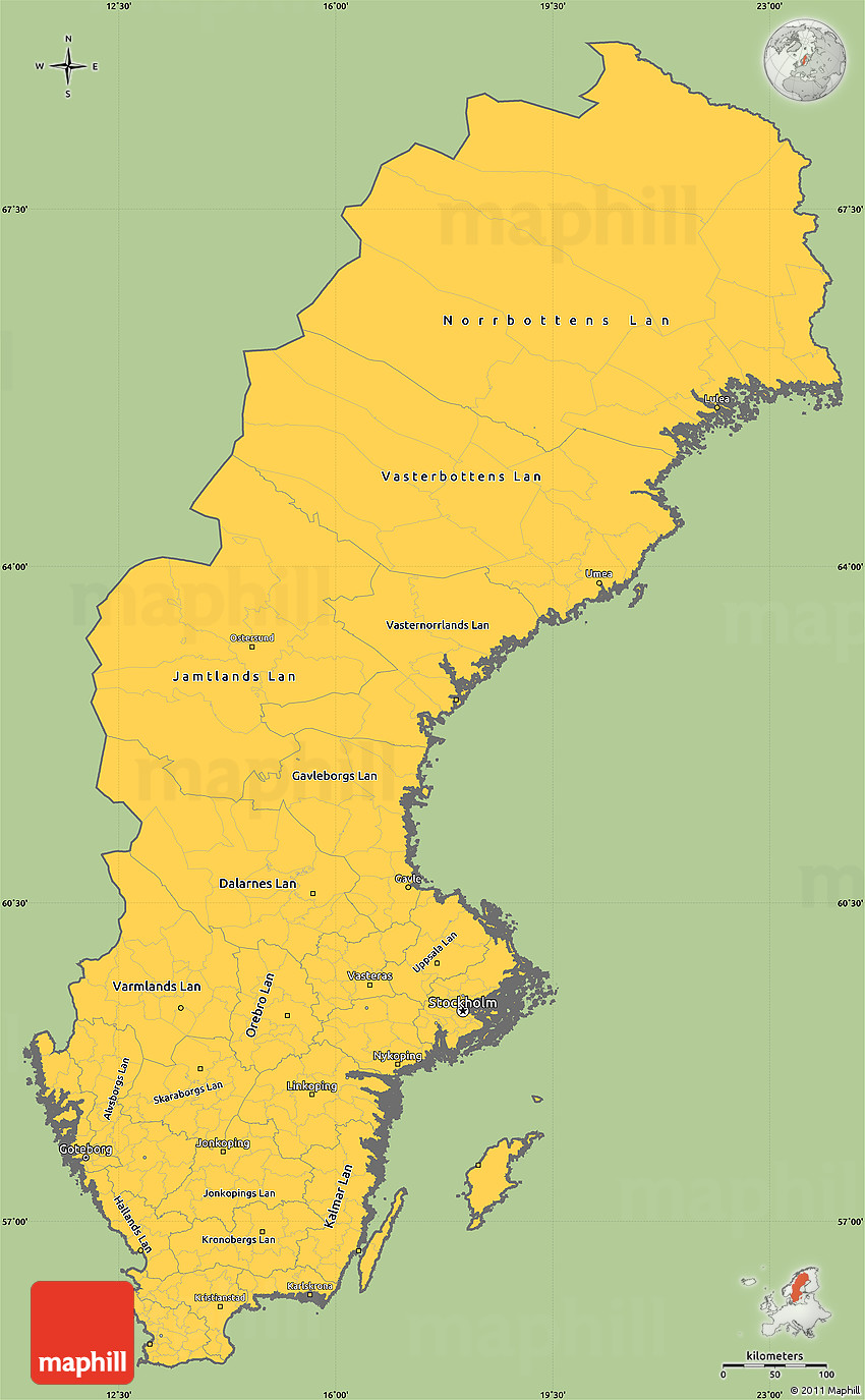 Savanna Style Simple Map Of Sweden Cropped Outside - Sweden map ostersund
