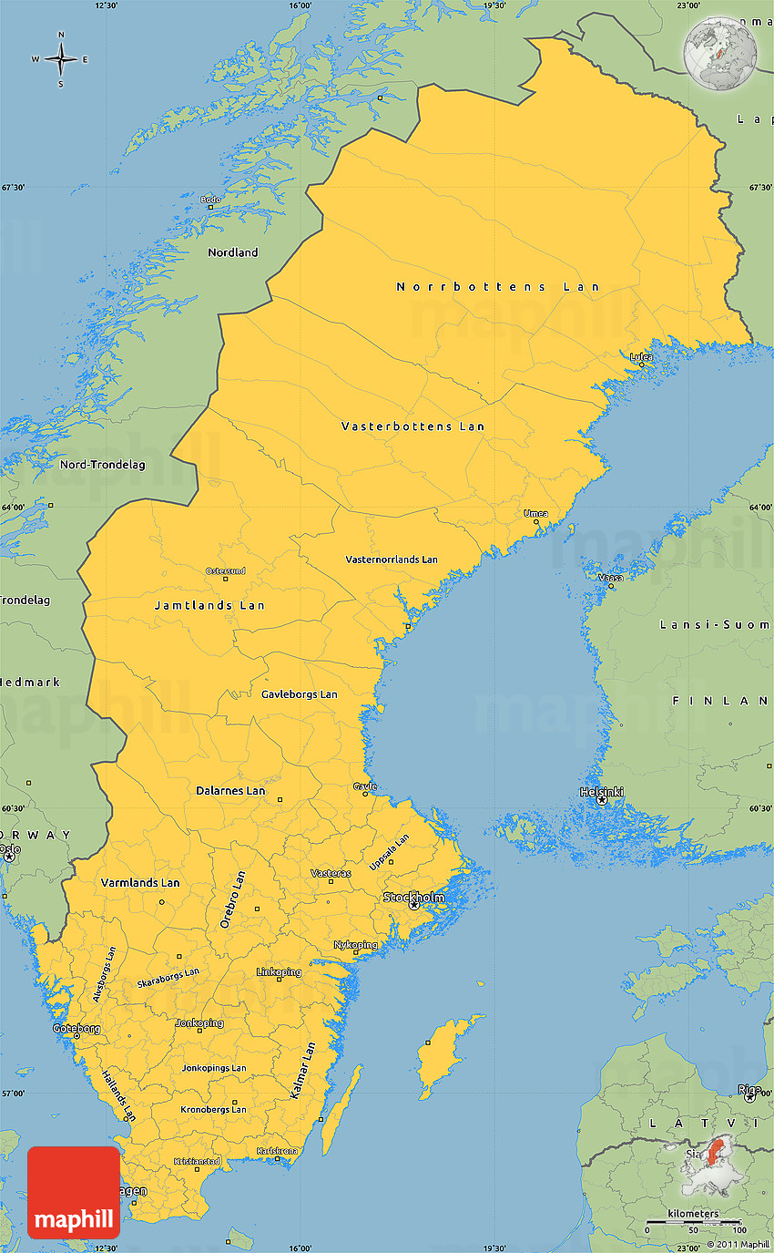 Savanna style simple map of sweden gumiabroncs