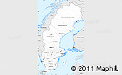 Silver Style Simple Map of Sweden