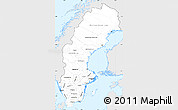 Silver Style Simple Map of Sweden, single color outside