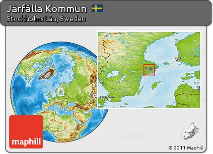 Free Physical Location Map Of Järfälla Kommun - Jarfalla sweden map