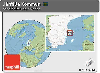 Free Savanna Style Location Map Of Järfälla Kommun Highlighted - Jarfalla sweden map