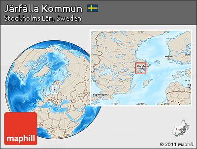Free Shaded Relief Location Map Of Järfälla Kommun - Jarfalla sweden map