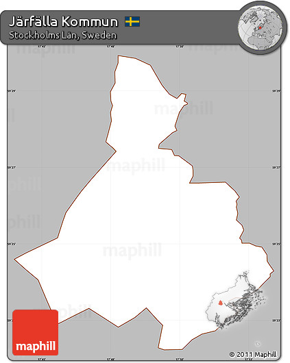 Free Gray Simple Map Of Järfälla Kommun Cropped Outside - Jarfalla sweden map