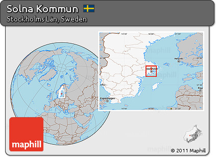 Free Gray Location Map Of Solna Kommun Highlighted Country - Sweden map solna
