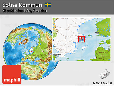 Free Physical Location Map Of Solna Kommun Highlighted Country - Sweden map solna