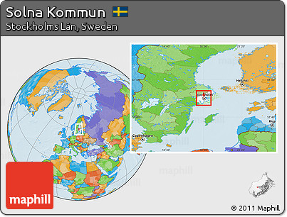 Free Political Location Map Of Solna Kommun Highlighted Parent Region - Sweden map solna