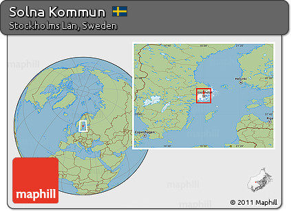 Free Savanna Style Location Map Of Solna Kommun Highlighted - Sweden map solna