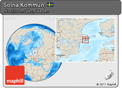 Free Shaded Relief Location Map Of Solna Kommun - Sweden map solna